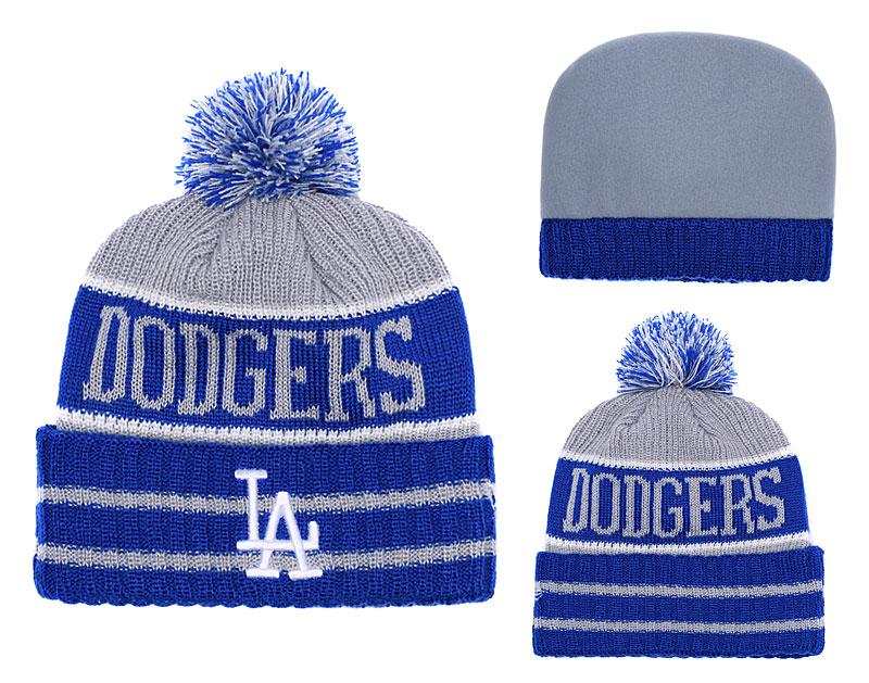 Dodgers Team Logo Royal Gray Cuffed Knit Hat With Pom YD