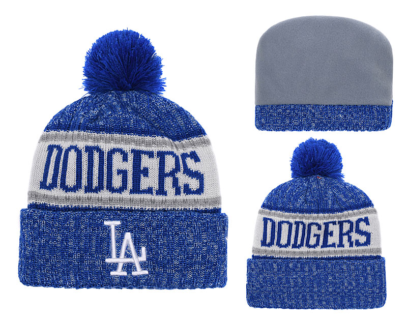 Dodgers Team Logo Royal White Cuffed Knit Hat With Pom YD
