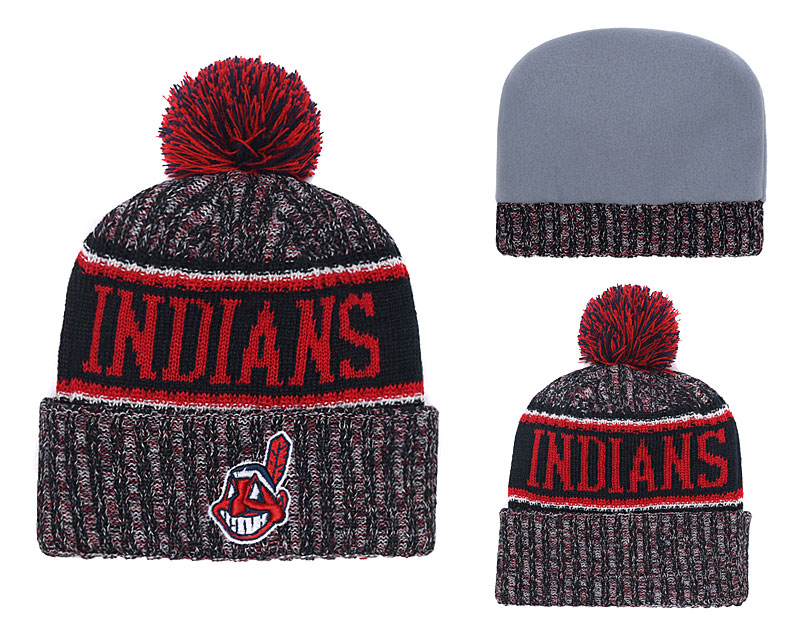 Indians Team Logo Red Black Cuffed Knit Hat With Pom YD