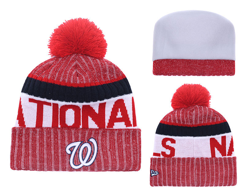 Nationals Team Logo Red Cuffed Knit Hat With Pom YD