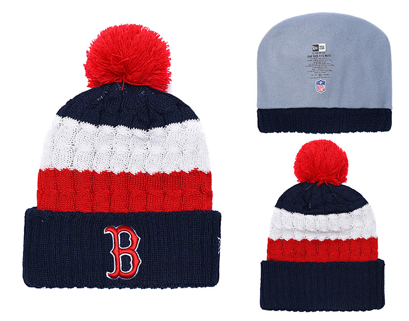 Red Sox Team Logo Navy Red White With Pom Knit Hat YD