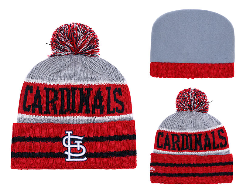 St. Louis Cardinals Red Banner Block Cuffed Knit Hat With Pom YD