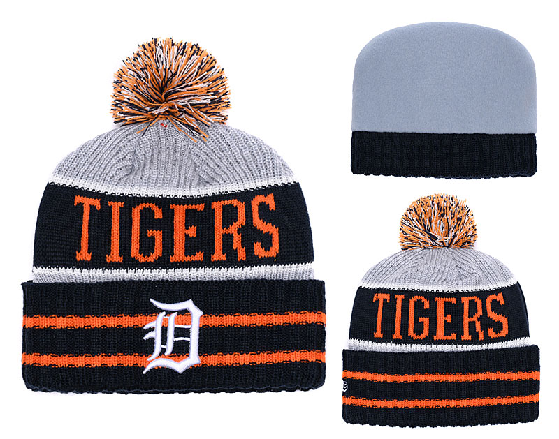 Tigers Team Logo Navy Gray Cuffed Knit Hat With Pom YD