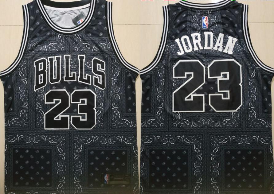 Bulls 23 Michael Jordan Black Fashion Swingman Jersey