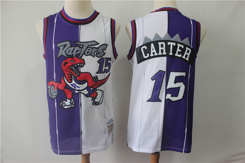 Raptors 15 Vince Carter Purple White Split 1998-99 Hardwood Classics Jersey