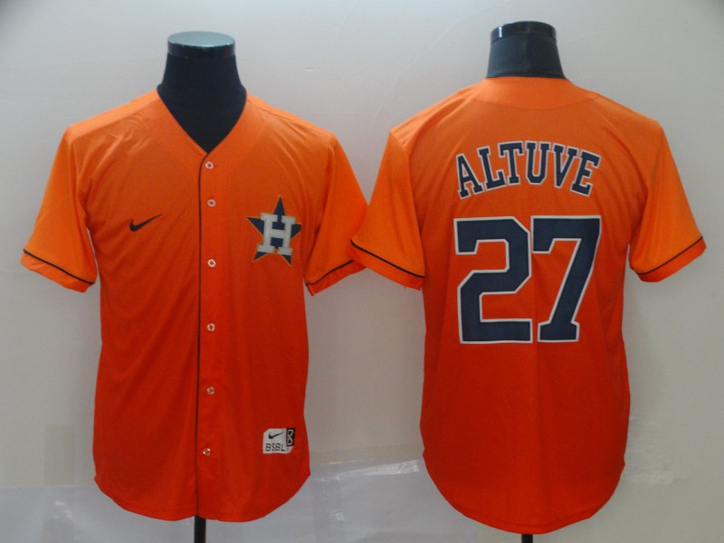 5298a75e1 Astros 27 Jose Altuve Orange Drift Fashion Jersey