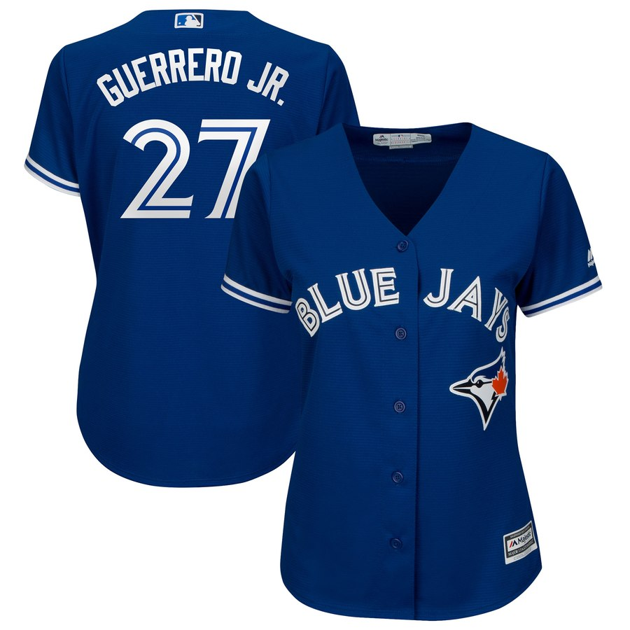 Blue Jays 27 Vladimir Guerrero Jr. Royal Women Cool Base Jersey