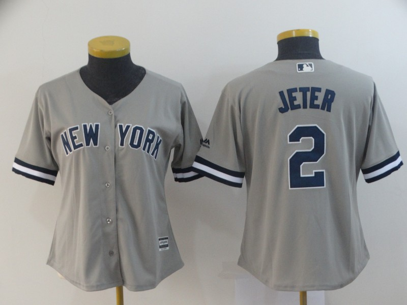 Yankees 2 Derek Jeter Gray Women Cool Base Jersey