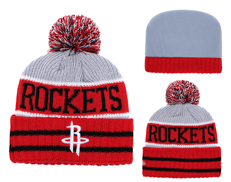Rockets Team Logo Red Gray Pom Knit Hat YD