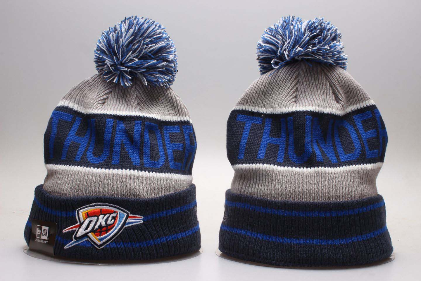 Thunder Blue Wordmark Cuffed Pom Knit Hat YP