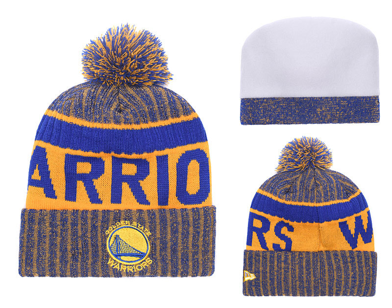 Warriors Fresh Logo Brown Royal Pom Knit Hat YD