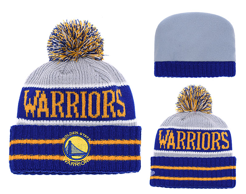 Warriors Fresh Logo Royal Gray Pom Knit Hat YD