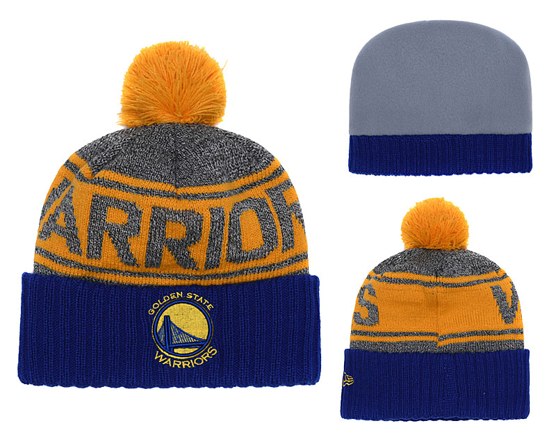Warriors Fresh Logo Royal Gray Yellow Pom Knit Hat YD