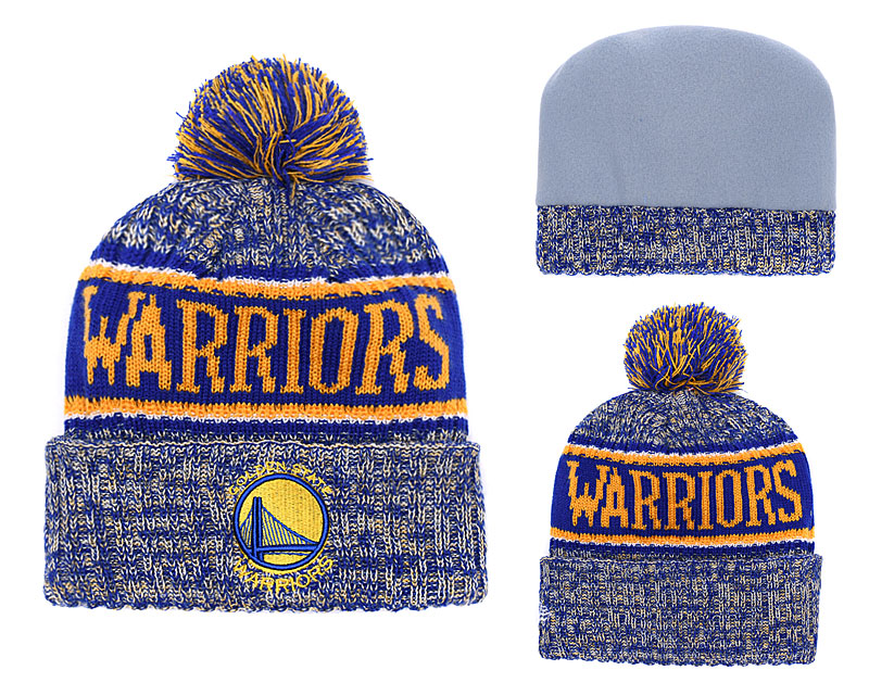 Warriors Fresh Logo Royal Pom Knit Hats YD