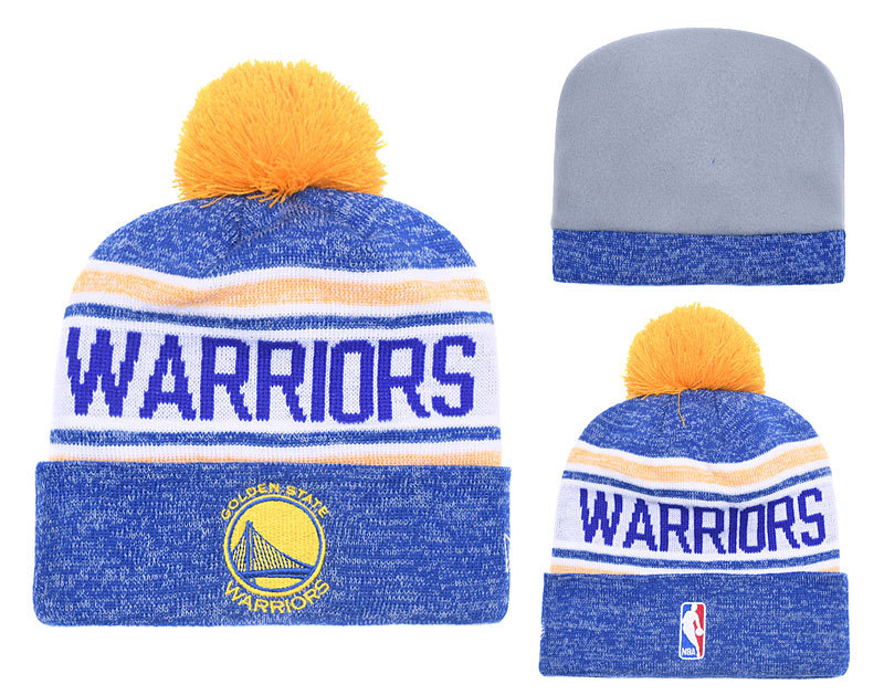Warriors Fresh Logo Royal White Pom Knit Hats YD
