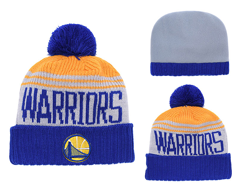 Warriors Fresh Logo Royal With Pom Knit Hat YD
