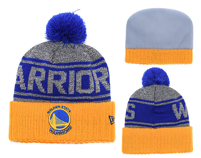Warriors Fresh Logo Royal Yellow Gray Pom Knit Hat YD