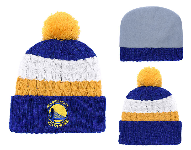 Warriors Fresh Logo Yellow Royal Pom Knit Hat YD