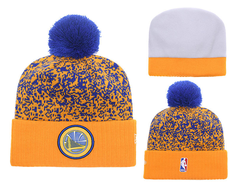 Warriors Fresh Logo Yellow Royal With Pom Knit Hat YD