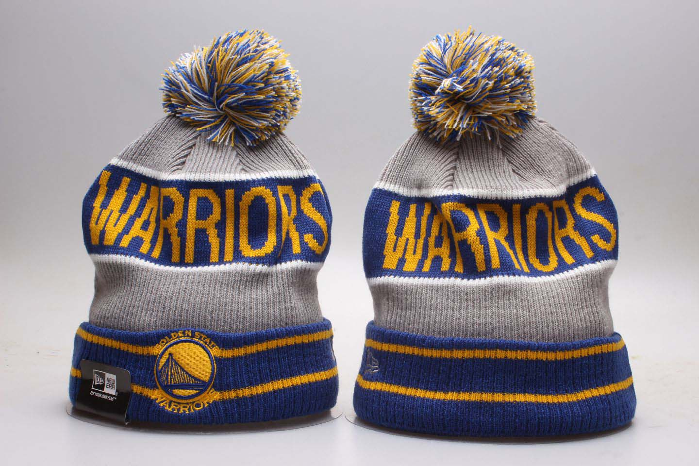 Warriors Royal Banner Block Cuffed Pom Knit Hat YP