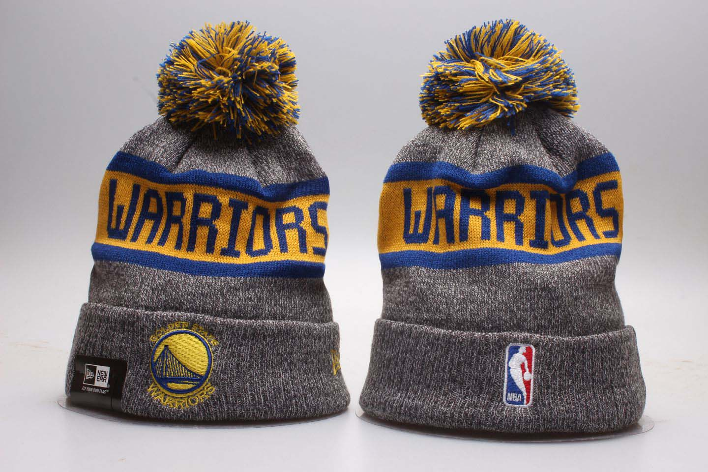 Warriors Team Logo Gray Knit Hat YP