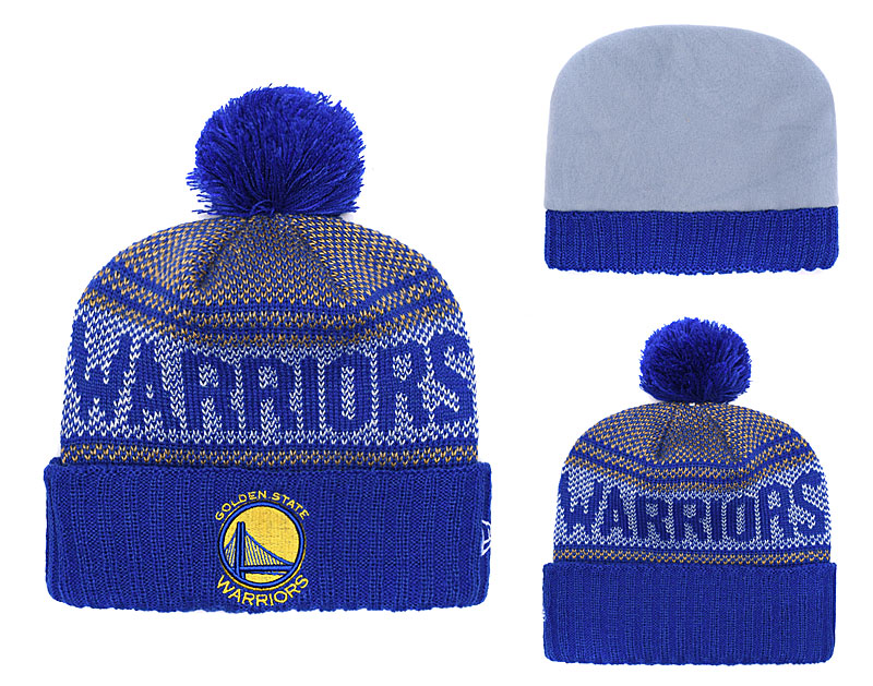 Warriors Team Logo Royal Pom Knit Hat YD