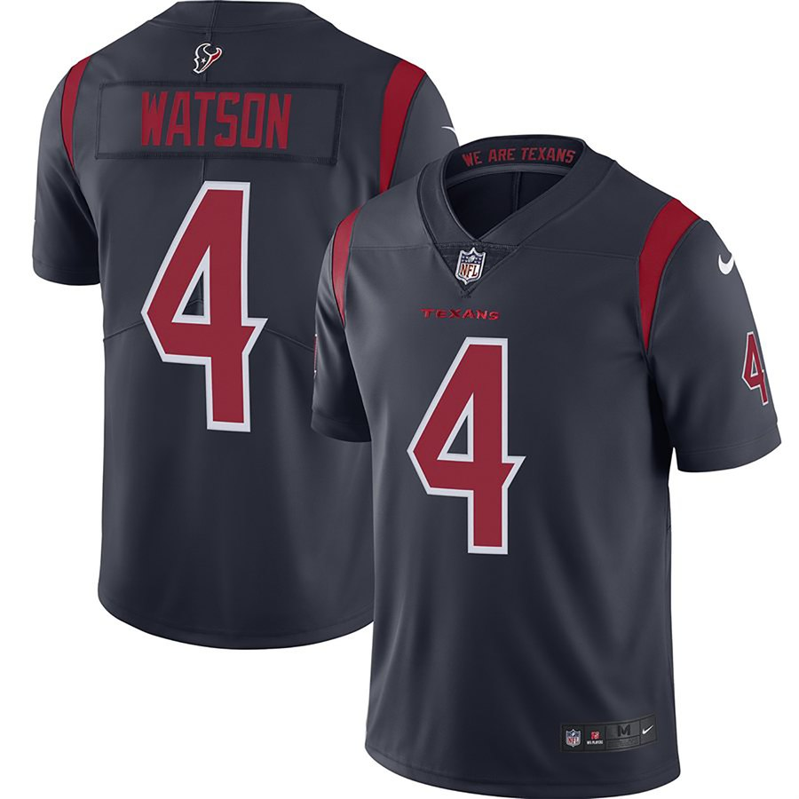 Nike Texans 4 Deshaun Watson Navy Youth New 2019 Color Rush Limited Jersey