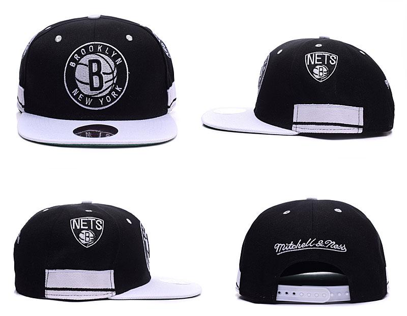 Nets Team Logo Black White Mitchell & Ness Adjustable Hat TX