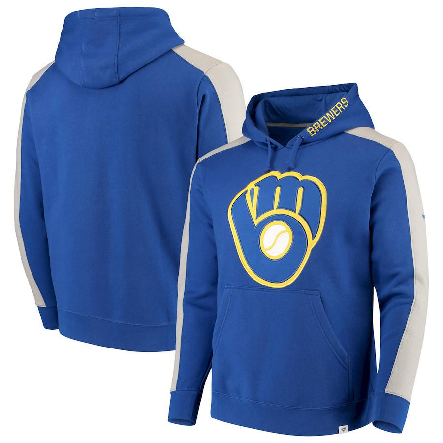 Milwaukee Brewers Fanatics Branded Iconic Fleece Pullover Hoodie Royal & Gray