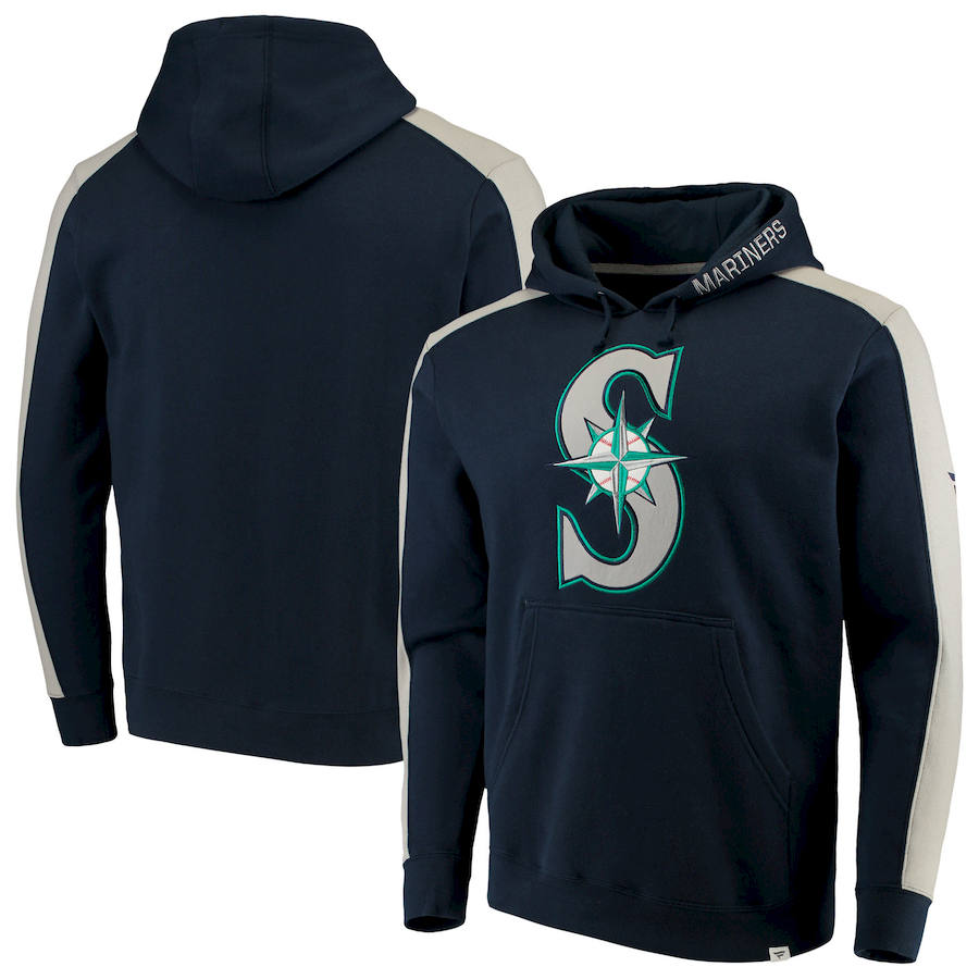 Seattle Mariners Fanatics Branded Iconic Fleece Pullover Hoodie Navy & Gray