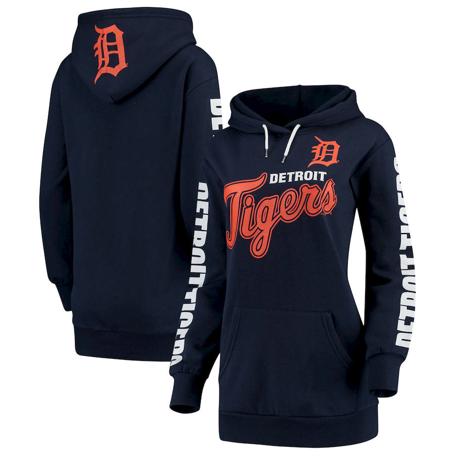 Detroit Tigers G III 4Her by Carl Banks Women's Extra Innings Pullover Hoodie Navy