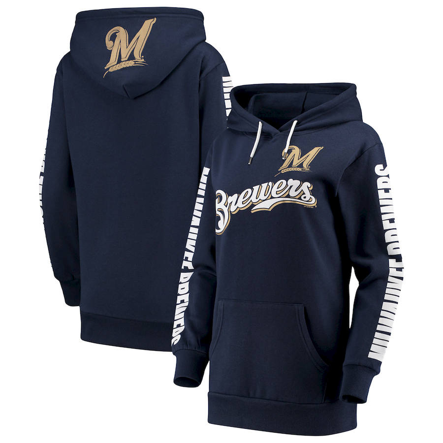Milwaukee Brewers G III 4Her by Carl Banks Women's Extra Innings Pullover Hoodie Navy