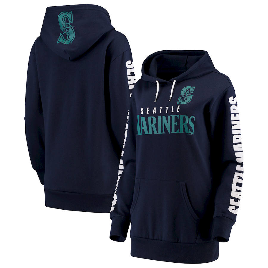 Seattle Mariners G III 4Her by Carl Banks Women's Extra Innings Pullover Hoodie Navy