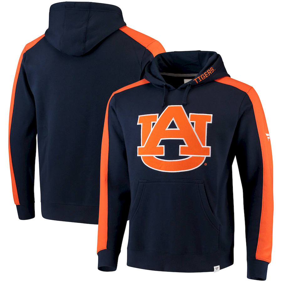 Auburn Tigers Fanatics Branded Iconic Colorblocked Fleece Pullover Hoodie Navy