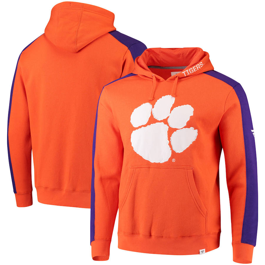 Clemson Tigers Fanatics Branded Iconic Colorblocked Fleece Pullover Hoodie Orange