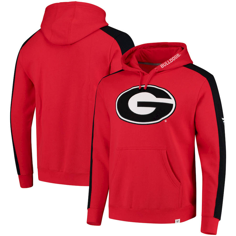 Georgia Bulldogs Fanatics Branded Iconic Colorblocked Fleece Pullover Hoodie Red