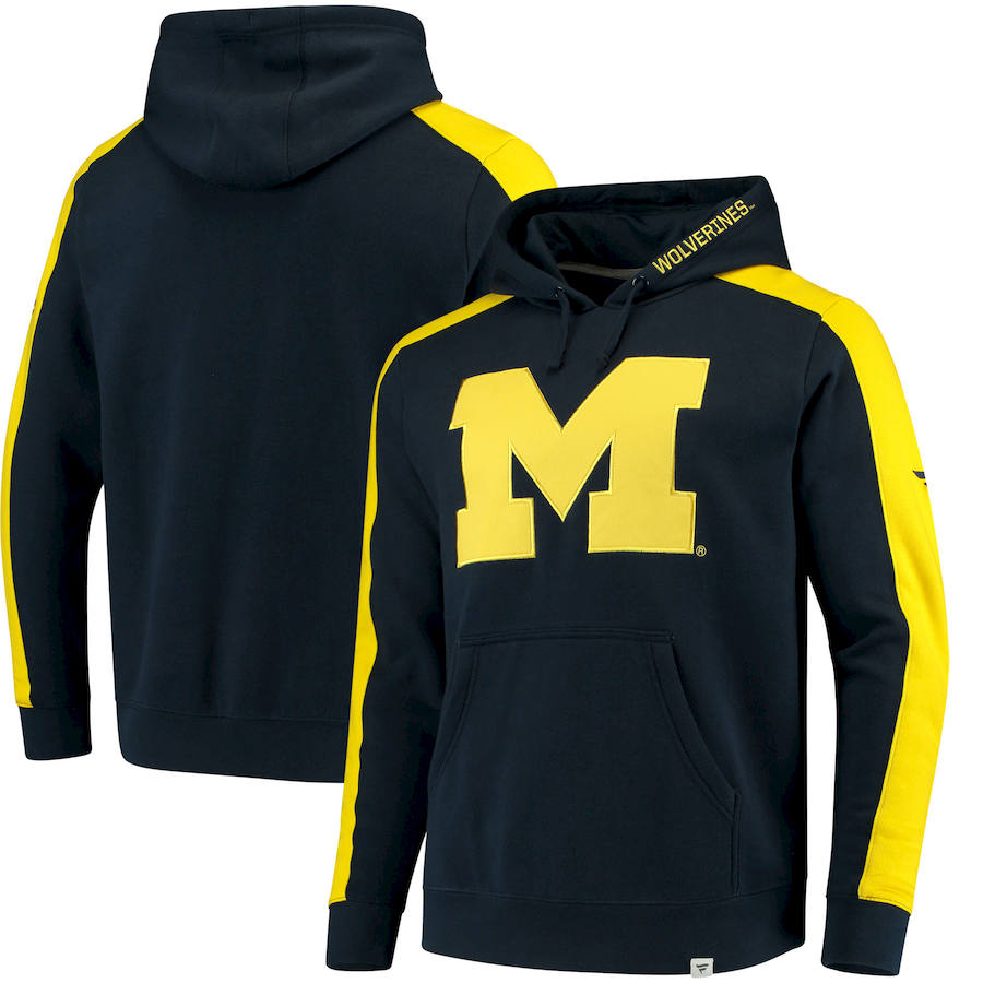 Michigan Wolverines Fanatics Branded Iconic Colorblocked Fleece Pullover Hoodie Navy