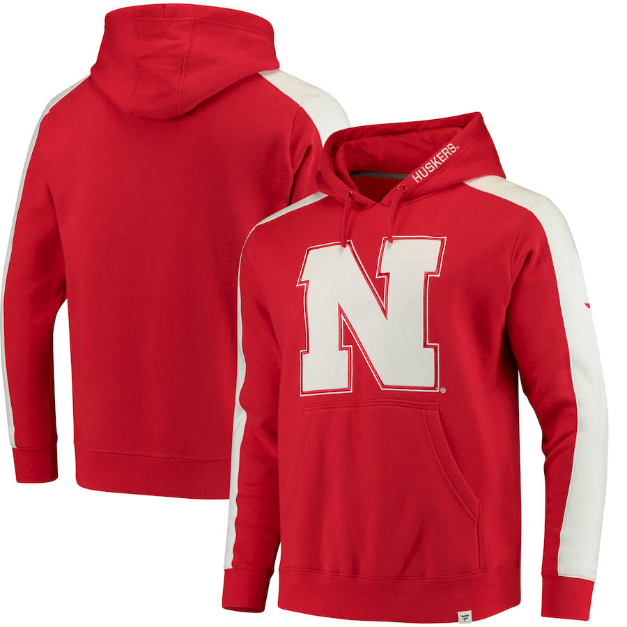 Nebraska Cornhuskers Fanatics Branded Iconic Colorblocked Fleece Pullover Hoodie Scarlet
