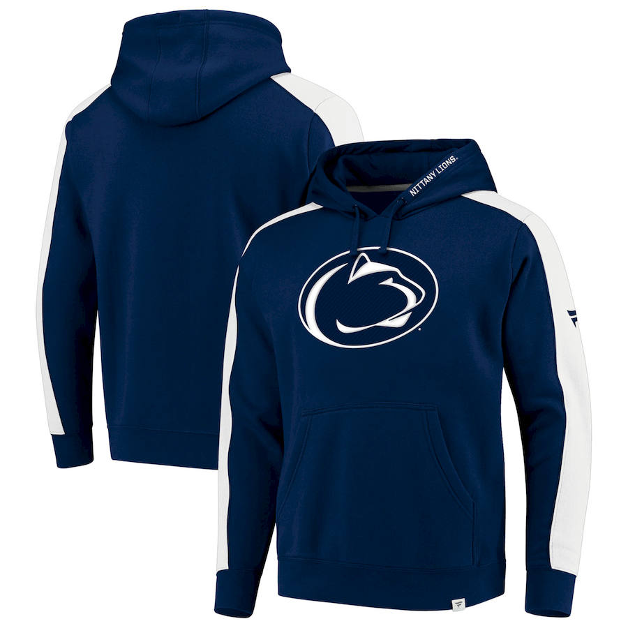 Penn State Nittany Lions Fanatics Branded Iconic Colorblocked Fleece Pullover Hoodie Navy