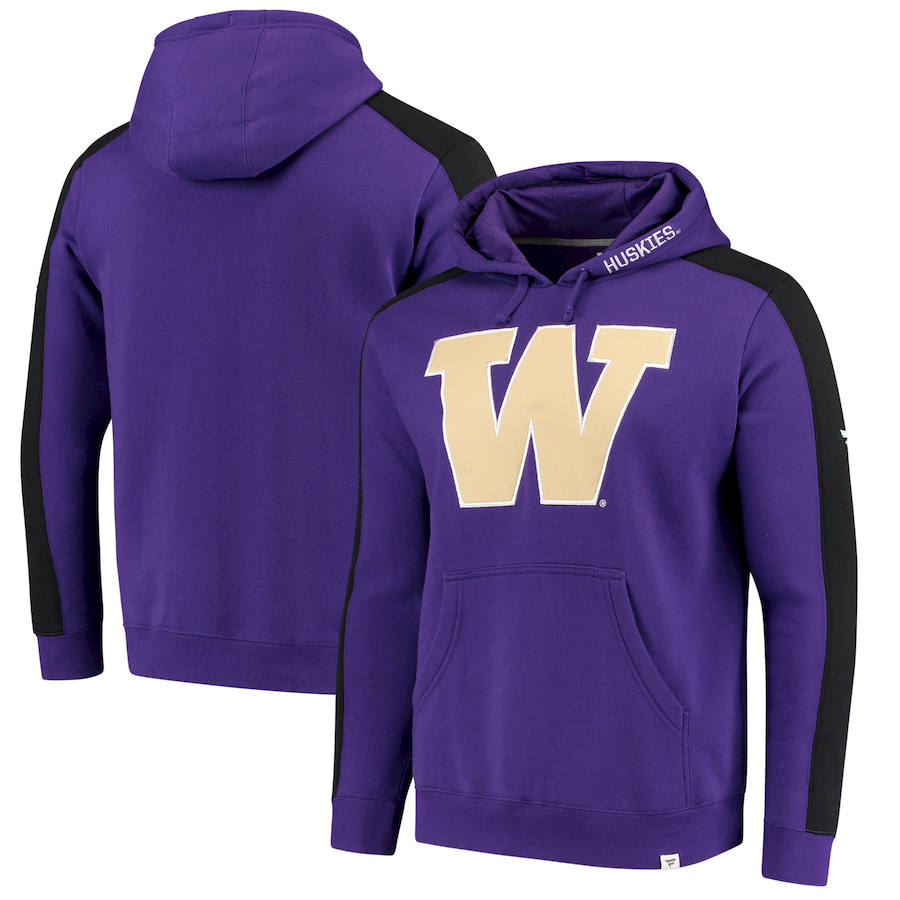 Washington Huskies Fanatics Branded Iconic Colorblocked Fleece Pullover Hoodie Purple