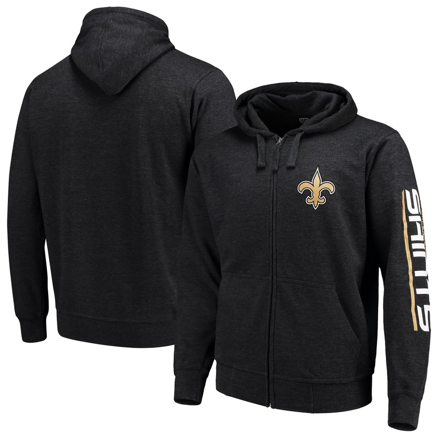 New Orleans Saints G III Sports by Carl Banks Post Route Full Zip Hoodie Charcoal