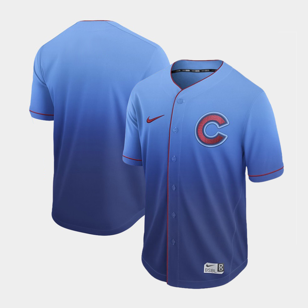 Cubs Blank Blue Drift Fashion Jersey