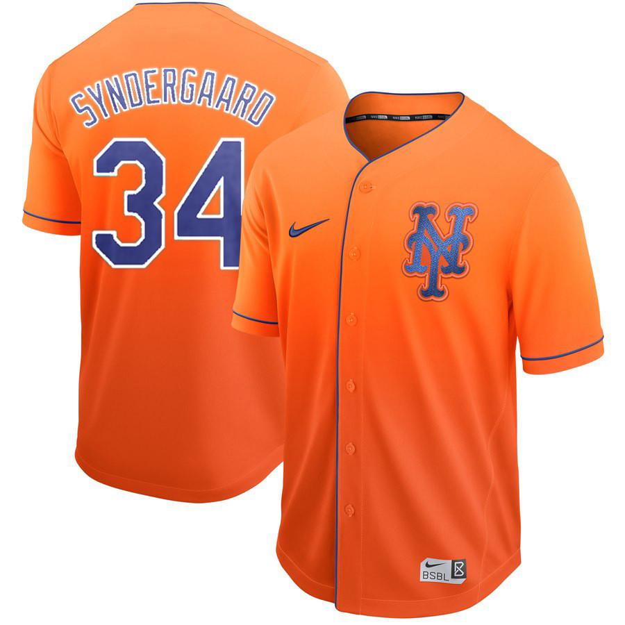 Mets 34 Noah Syndergaard Orange Drift Fashion Jersey