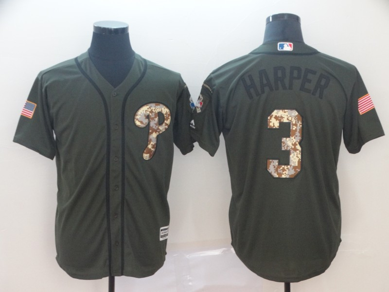 Phillies 3 Bryce Harper Olive Camo Salute To Service Cool Base Jersey
