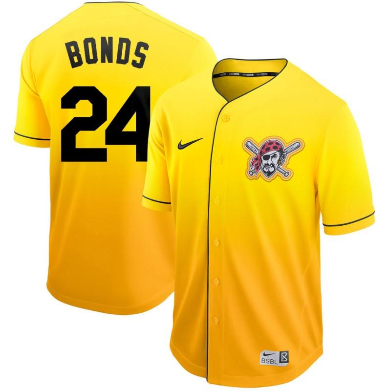 Pirates 24 Barry Bonds Yellow Drift Fashion Jersey