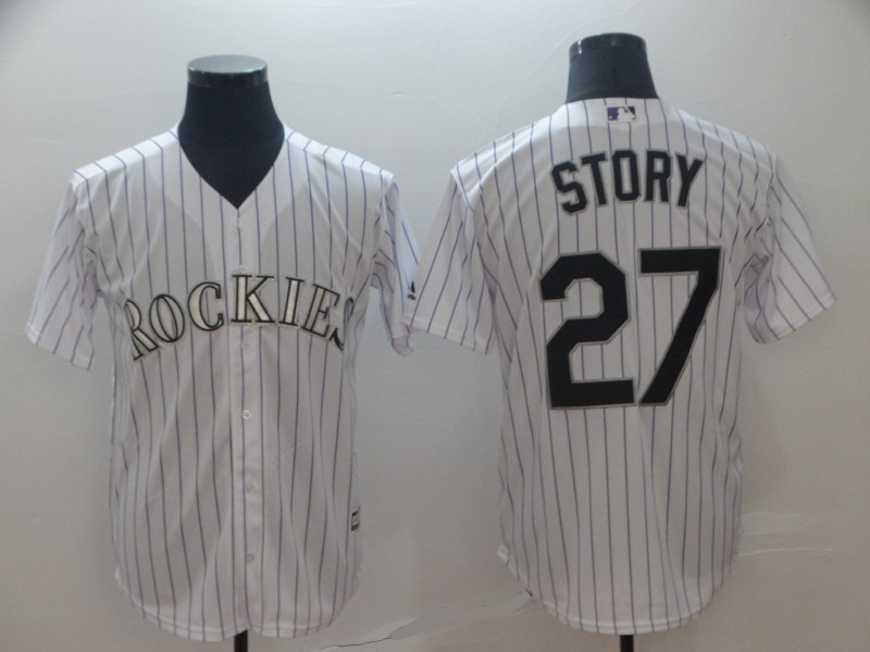 Rockies 27 Trevor Story White Cool Base Jersey