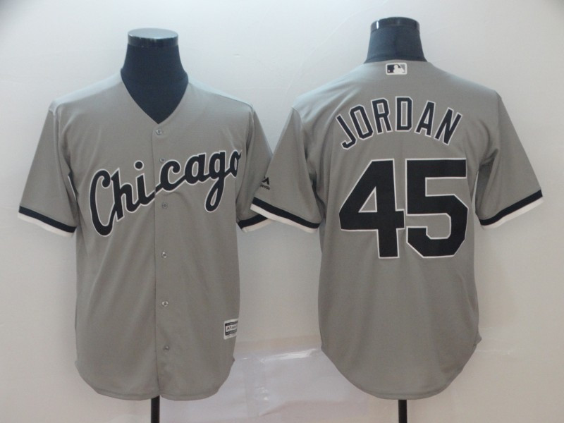 White Sox 45 Michael Jordan Gray Cool Base Jersey