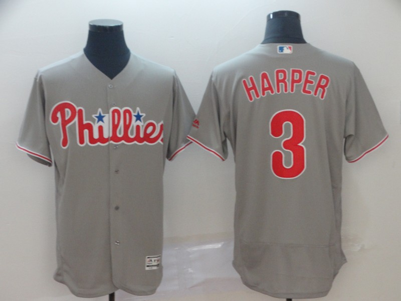 Phillies 3 Bryce Harper Gray Flexbase Jersey