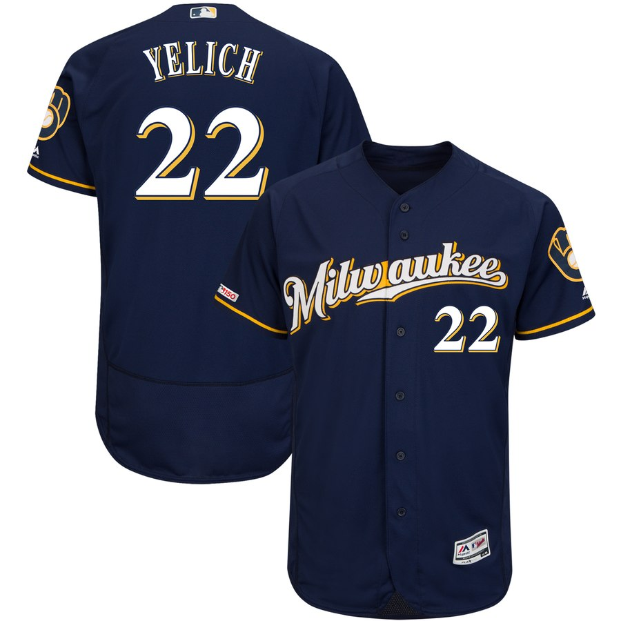 Brewers 22 Christian Yelich Navy 150th Patch Flexbase Jersey