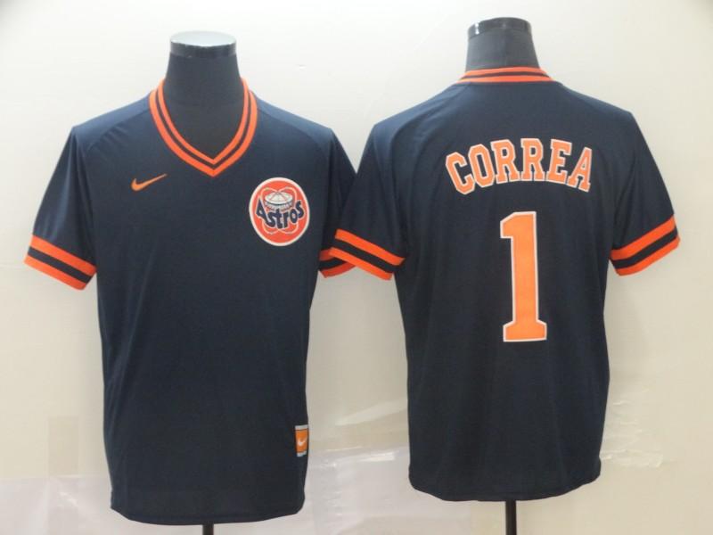 Astros 1 Carlos Correa Black Throwback Jersey